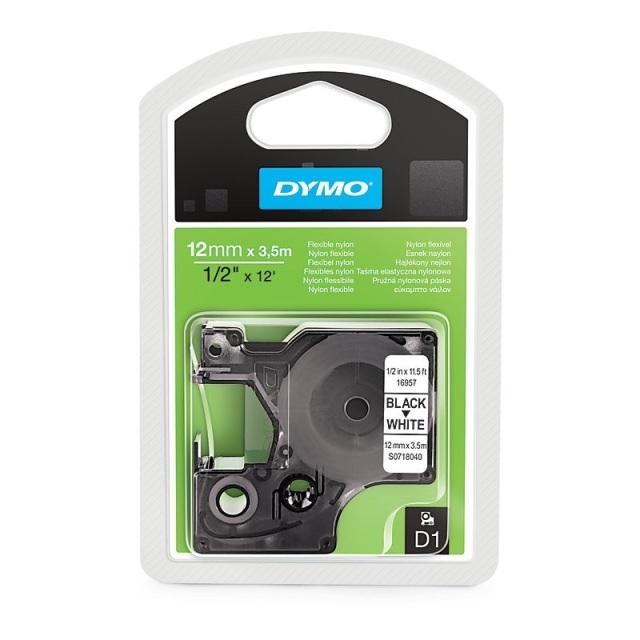 Originální páska DYMO 16957 (S0718040), 12mm, černý tisk na bílém podkladu, nylonová flexibilní