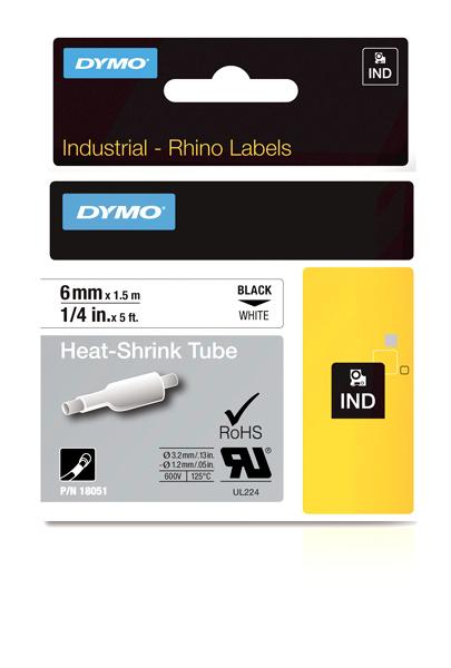 Originální páska DYMO 18051 (S0718260), 6mm, černý tisk na bílém podkladu, plochá smršťovací bužírka
