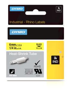 Originální páska DYMO 18052 (S0718270), 6mm, černý tisk na žlutém podkladu, plochá smršťovací bužírka