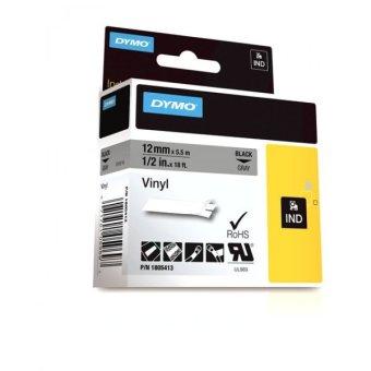 Originální páska DYMO 1805413, 12mm, černý tisk na šedém podkladu, vinylová