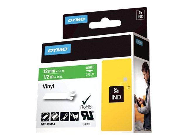 Originální páska DYMO 1805414, 12mm, bílý tisk na zeleném podkladu, vinylová