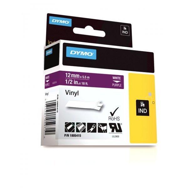 Originální páska DYMO 1805415, 12mm, bílý tisk na fialovém podkladu, vinylová