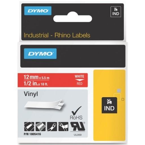 Originální páska DYMO 1805416, 12mm, bílý tisk na červeném podkladu, vinylová