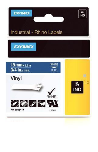 Originální páska DYMO 1805417, 19mm, bílý tisk na modrém podkladu, vinylová