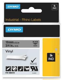 Originální páska DYMO 1805419, 19mm, černý tisk na šedém podkladu, vinylová