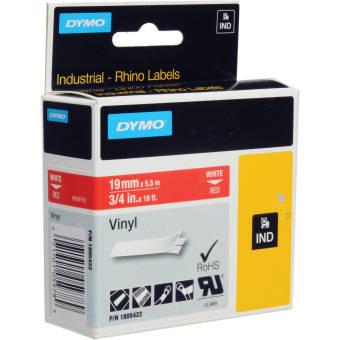 Originální páska DYMO 1805422, 19mm, bílý tisk na červeném podkladu, vinylová