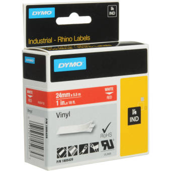 Originální páska DYMO 1805429, 24mm, bílý tisk na červeném podkladu, vinylová