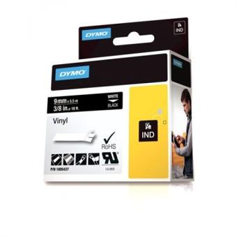 Originální páska DYMO 1805437, 9mm, bílý tisk na černém podkladu, vinylová