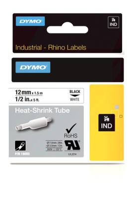 Originální páska DYMO 18055 (S0718300), 12mm, černý tisk na bílém podkladu, plochá smršťovací bužírka