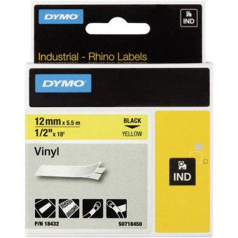 Originální páska DYMO 18432 (S0718450), 12mm, černý tisk na žlutém podkladu, vinylová