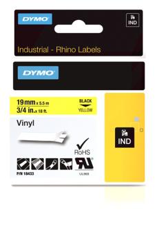 Originální páska DYMO 18433 (S0718470), 19mm, černý tisk na žlutém podkladu, vinylová