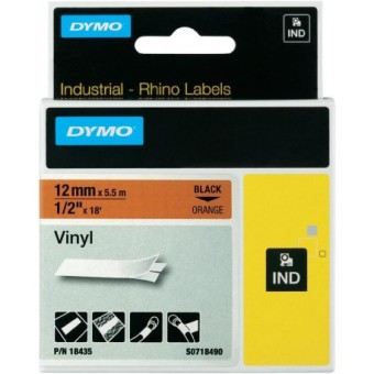 Originální páska DYMO 18435 (S0718490), 12mm, černý tisk na oranžovém podkladu, vinylová