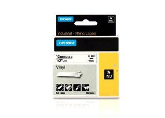 Originální páska DYMO 18444 (S0718600), 12mm, černý tisk na bílém podkladu, vinylová