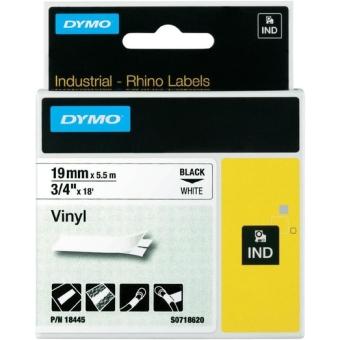 Originální páska DYMO 18445 (S0718620), 19mm, černý tisk na bílém podkladu, vinylová