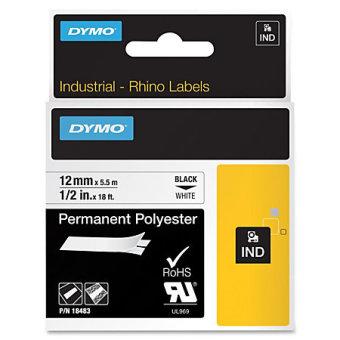 Originální páska DYMO 18483, 12mm, černý tisk na bílém podkladu, permanentní polyesterová