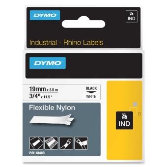 Originální páska DYMO 18489, 19mm, černý tisk na bílém podkladu, nylonová flexibilní