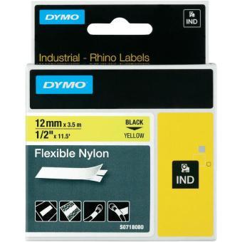 Originální páska DYMO 18490, 12mm, černý tisk na žlutém podkladu, nylonová flexibilní