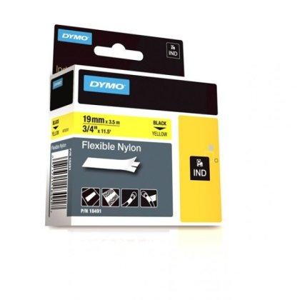 Originální páska DYMO 18491, 19mm, černý tisk na žlutém podkladu, nylonová flexibilní