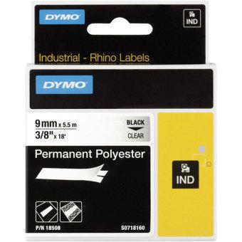 Originální páska DYMO 18508 (S0718160), 9mm, černý tisk na průsvitném podkladu, permanentní polyesterová