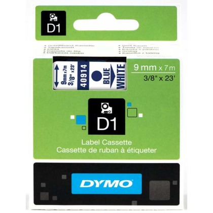 Originální páska DYMO 40914 (S0720690), 9mm, modrý tisk na bílém podkladu