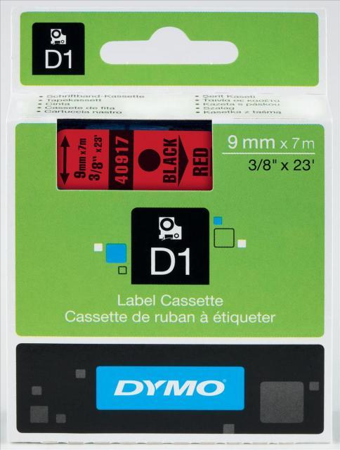 Originální páska DYMO 40917 (S0720720), 9mm, černý tisk na červeném podkladu