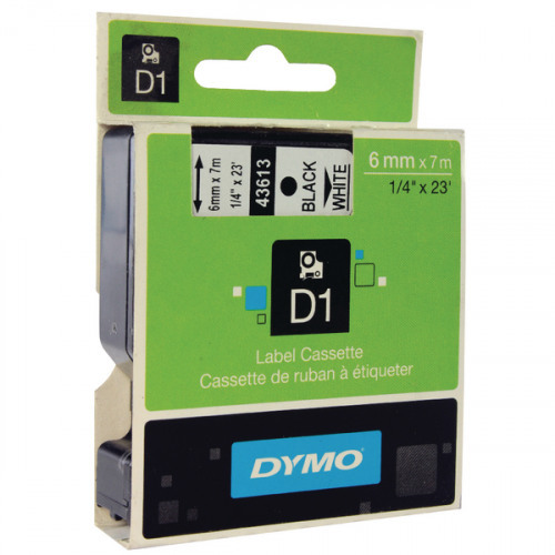 Originální páska DYMO 43613 (S0720780), 6mm, černý tisk na bílém podkladu