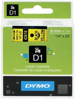 Originální páska DYMO 43618 (S0720790), 6mm, černý tisk na žlutém podkladu