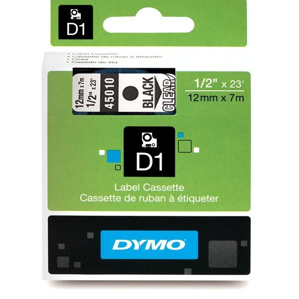 Originální páska DYMO 45010 (S0720500), 12mm, černý tisk na průsvitném podkladu