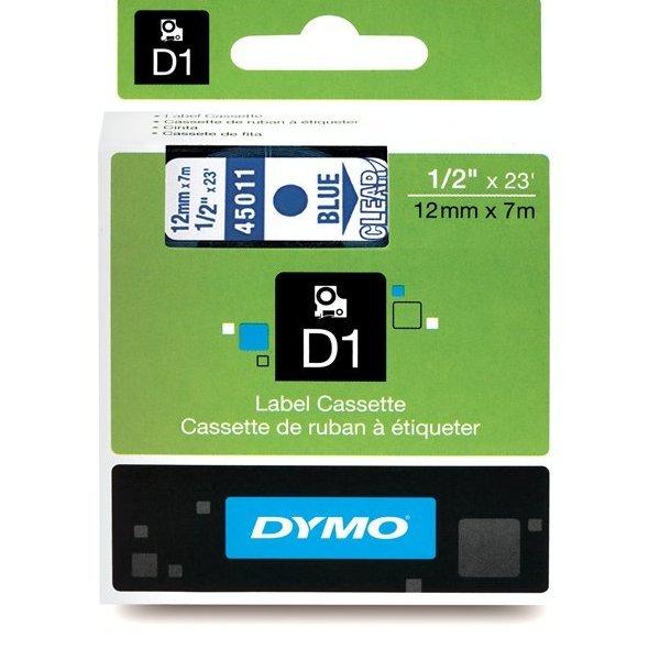 Originální páska DYMO 45011 (S0720510), 12mm, modrý tisk na průsvitném podkladu