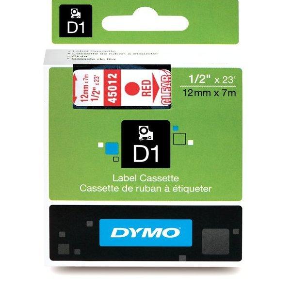 Originální páska DYMO 45012 (S0720520), 12mm, červený tisk na průsvitném podkladu