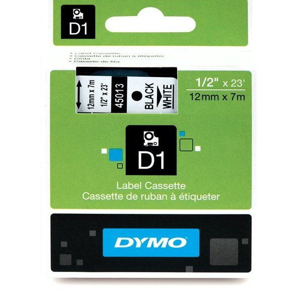 Originální páska DYMO 45013 (S0720530), 12mm, černý tisk na bílém podkladu