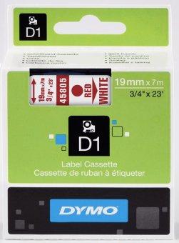 Originální páska DYMO 45805 (S0720850), 19mm, červený tisk na bílém podkladu