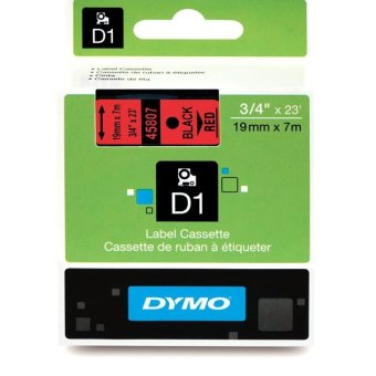 Originální páska DYMO 45807 (S0720870), 19mm, černý tisk na červeném podkladu