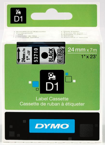 Originální páska DYMO 53710 (S0720920), 24mm, černý tisk na průsvitném podkladu