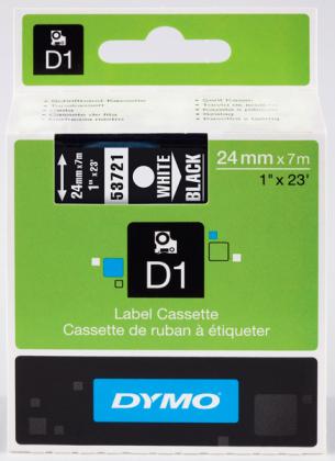 Originální páska DYMO 53721 (S0721010), 24mm, bílý tisk na černém podkladu
