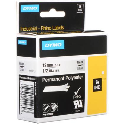 Originální páska DYMO 622289, 12mm, černý tisk na průsvitném podkladu, permanentní polyesterová