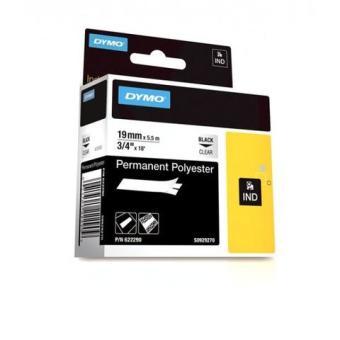 Originální páska DYMO 622290, 19mm, černý tisk na průsvitném podkladu, permanentní polyesterová