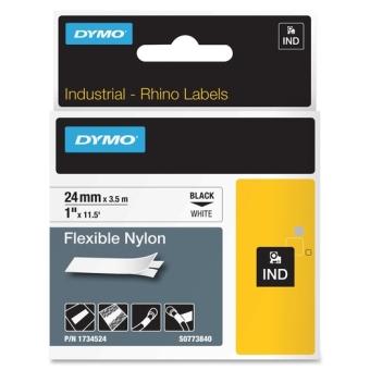 Originální páska DYMO 1734524 (S0773840), 24mm, černý tisk na bílém podkladu, nylonová flexibilní
