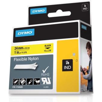 Originální páska DYMO 1734525 (S0773850), 24mm, černý tisk na žlutém podkladu, nylonová flexibilní