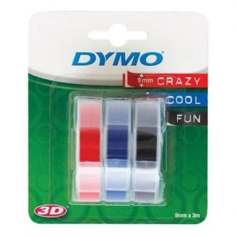Originální páska DYMO S0847750, 9mm, bílý tisk na černém, modrém a červeném podkladu