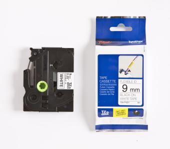 Originální páska Brother TZE-FX221, 9mm, černý tisk na bílém podkladu, flexibilní