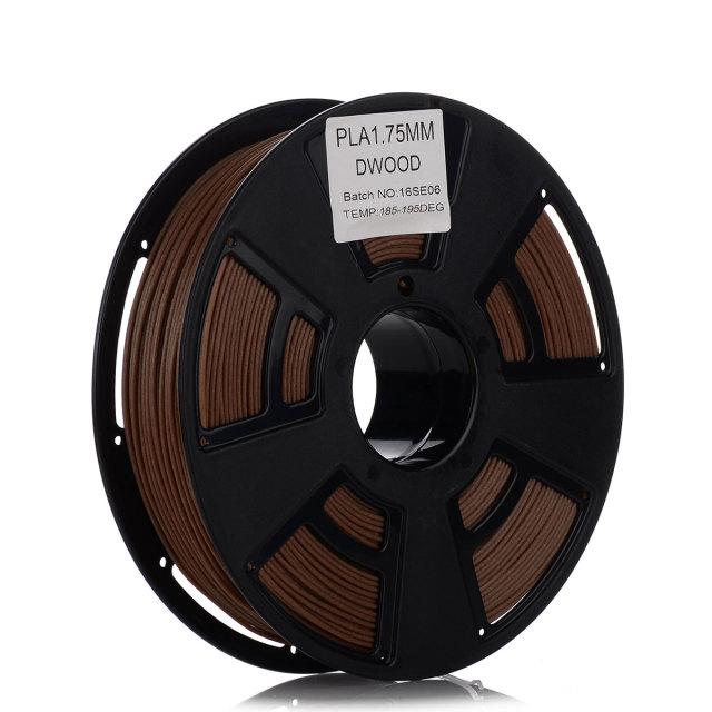 Tisková struna PLA pro 3D tiskárny, 1,75mm, 1kg, s příměsí dřeva (tmavá)